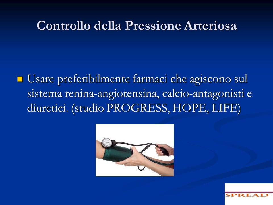 Controllo della Pressione Arteriosa Usare preferibilmente farmaci che agiscono sul sistema renina-angiotensina, calcio-antagonisti e diuretici. (studi