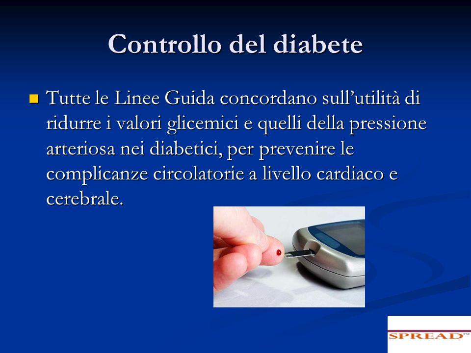 Controllo del diabete Tutte le Linee Guida concordano sullutilità di ridurre i valori glicemici e quelli della pressione arteriosa nei diabetici, per