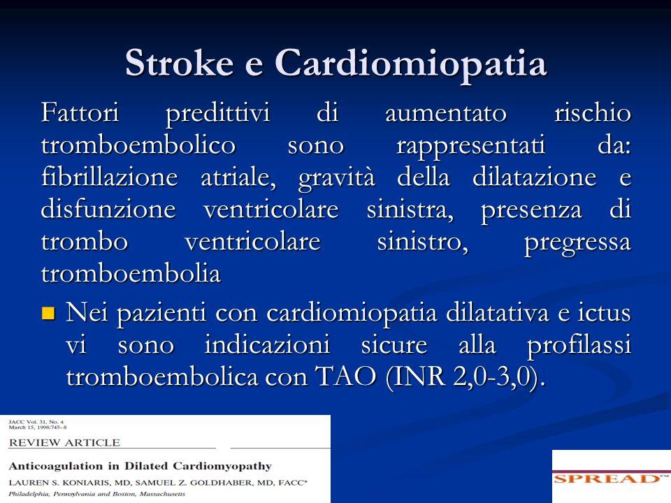 Stroke e Cardiomiopatia Fattori predittivi di aumentato rischio tromboembolico sono rappresentati da: fibrillazione atriale, gravità della dilatazione