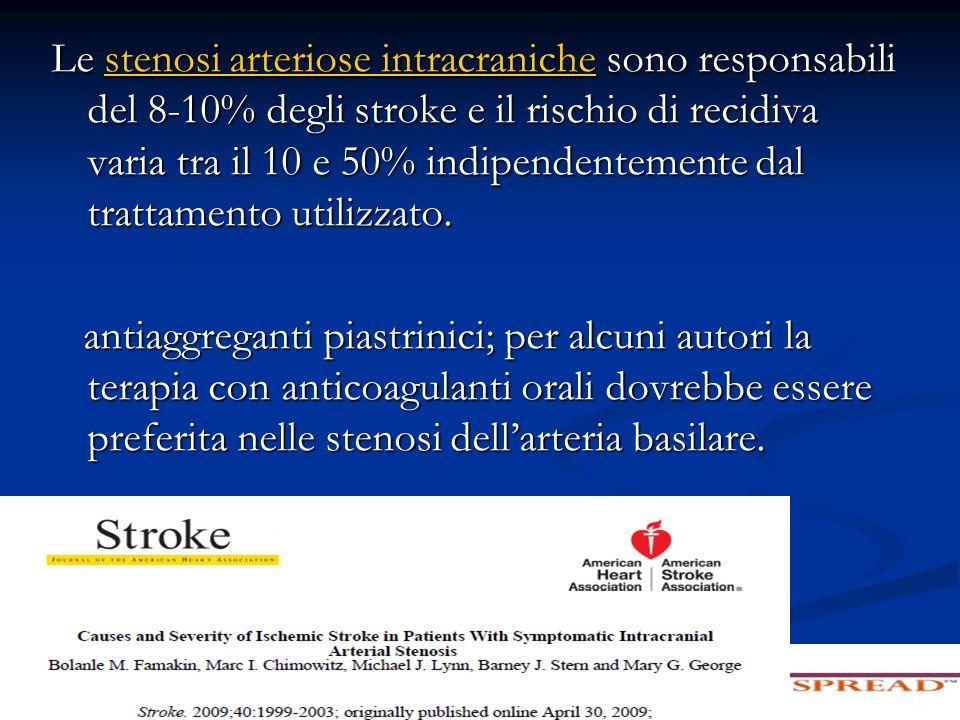 Stenosi arteriose intracraniche Lo studio SAMMPRIS di confronto tra terapia medica e angioplastica con stenting in casi di stenosi sintomatica di grado elevato (70-90%) di una arteria intracranica è stato interrotto dopo 451 casi (59% dei previsti) per netta prevalenza (14% vs 5.8%) di ictus cerebrale o decesso nei 30 giorni dallarruolamento nei casi trattati con stenting.