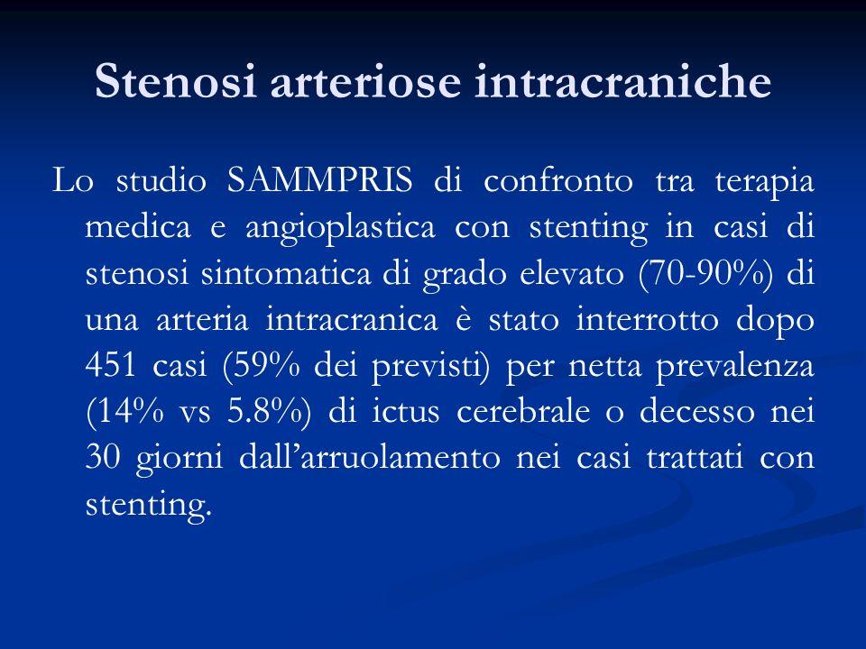 Stenosi arteriose intracraniche Lo studio SAMMPRIS di confronto tra terapia medica e angioplastica con stenting in casi di stenosi sintomatica di grad