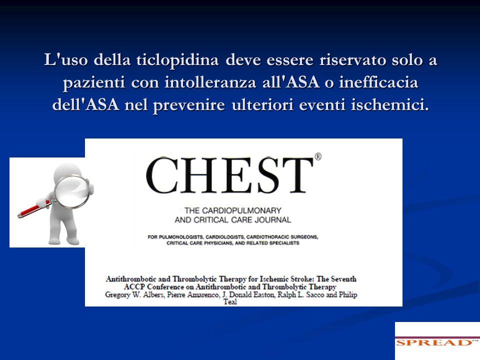 L'uso della ticlopidina deve essere riservato solo a pazienti con intolleranza all'ASA o inefficacia dell'ASA nel prevenire ulteriori eventi ischemici