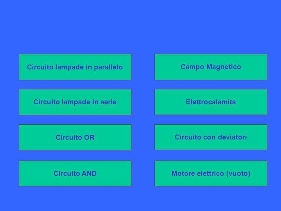 Campo Magnetico Circuito lampade in serie Circuito OR Elettrocalamita Circuito con deviatori Circuito AND Circuito lampade in parallelo Motore elettrico (vuoto)