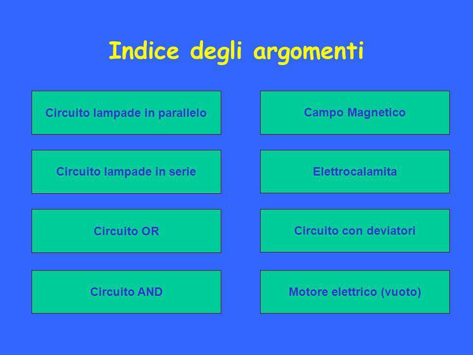 Indice degli argomenti Campo Magnetico Circuito lampade in serie Circuito OR Elettrocalamita Circuito con deviatori Circuito AND Circuito lampade in parallelo Motore elettrico (vuoto)