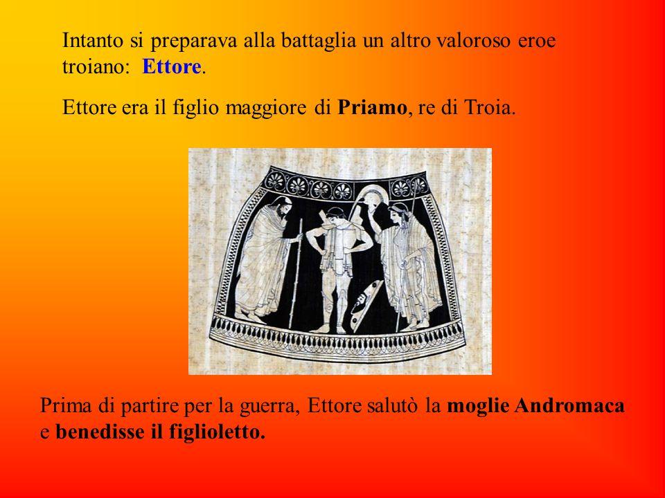 Intanto si preparava alla battaglia un altro valoroso eroe troiano: Ettore. Ettore era il figlio maggiore di Priamo, re di Troia. Prima di partire per