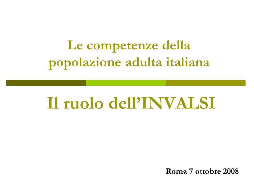 Il ruolo dellINVALSI Le competenze della popolazione adulta italiana Roma 7 ottobre 2008
