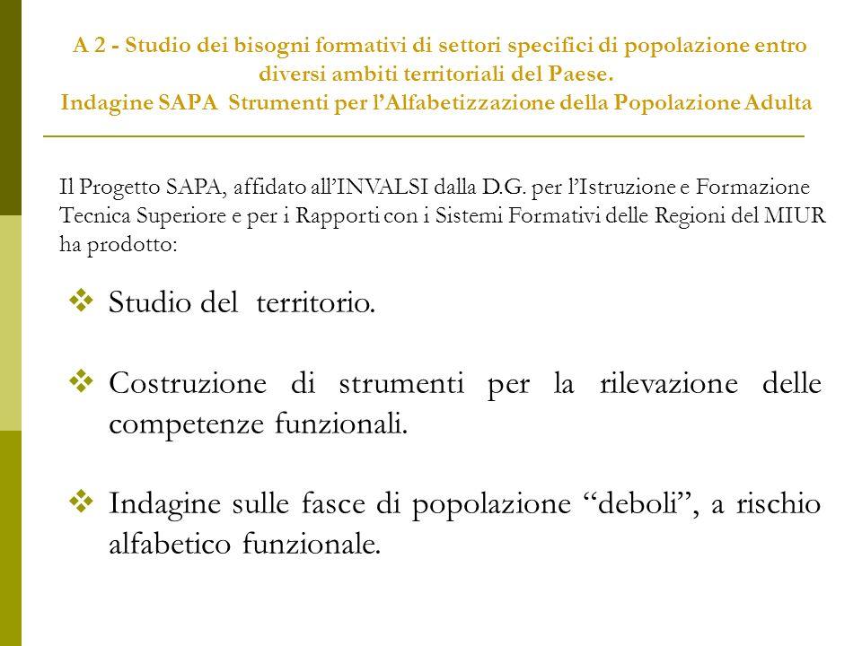 A 2 - Studio dei bisogni formativi di settori specifici di popolazione entro diversi ambiti territoriali del Paese.