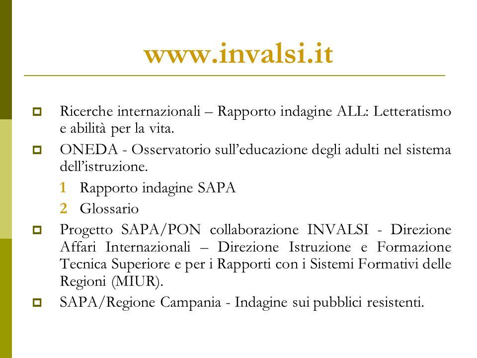 www.invalsi.it Ricerche internazionali – Rapporto indagine ALL: Letteratismo e abilità per la vita.