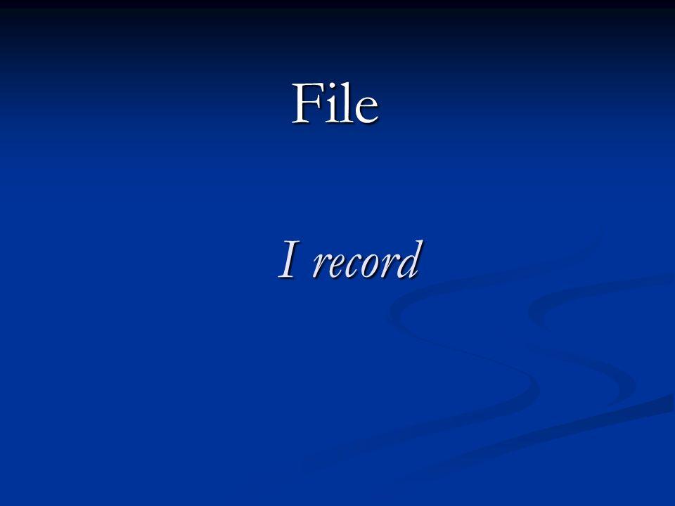 Il puntatore viene sempre aggiornato per indicare la sua posizione corrente nel file Il puntatore viene sempre aggiornato per indicare la sua posizione corrente nel file Al file viene assegnato un numero di file (# 1) per potervi fare riferimento.