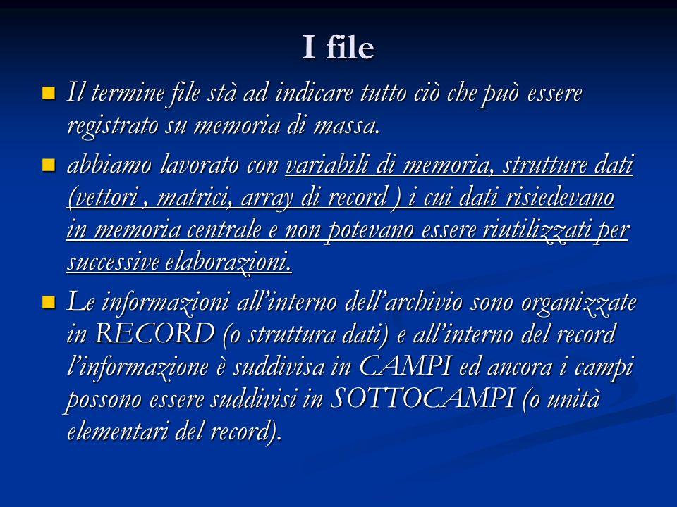 I file Il termine file stà ad indicare tutto ciò che può essere registrato su memoria di massa. Il termine file stà ad indicare tutto ciò che può esse