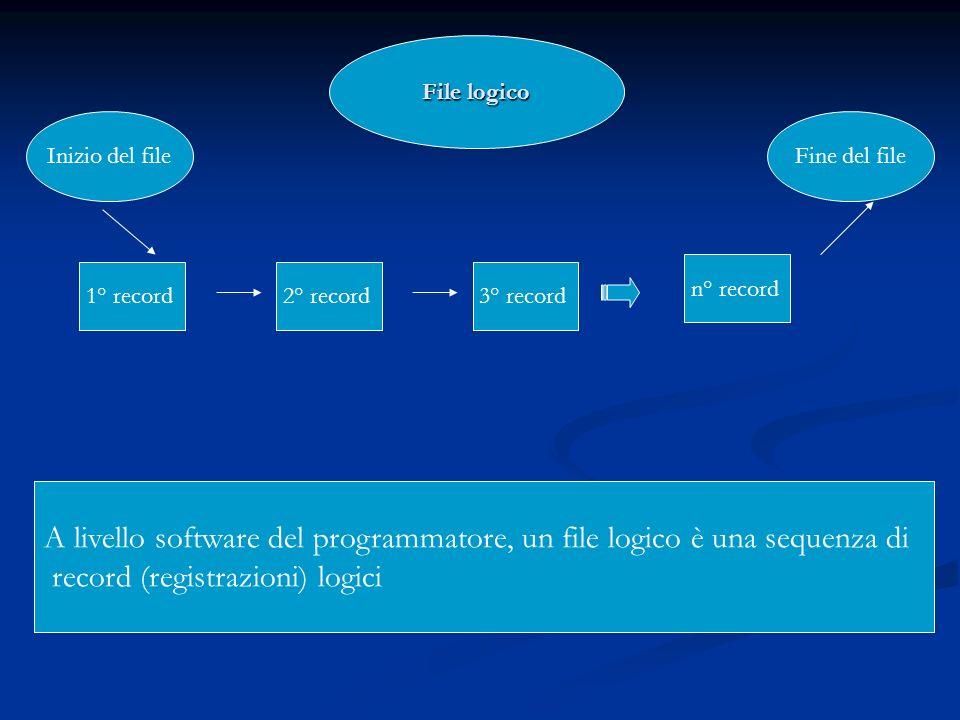 1° record2° record3° record n° record File logico Inizio del fileFine del file A livello software del programmatore, un file logico è una sequenza di