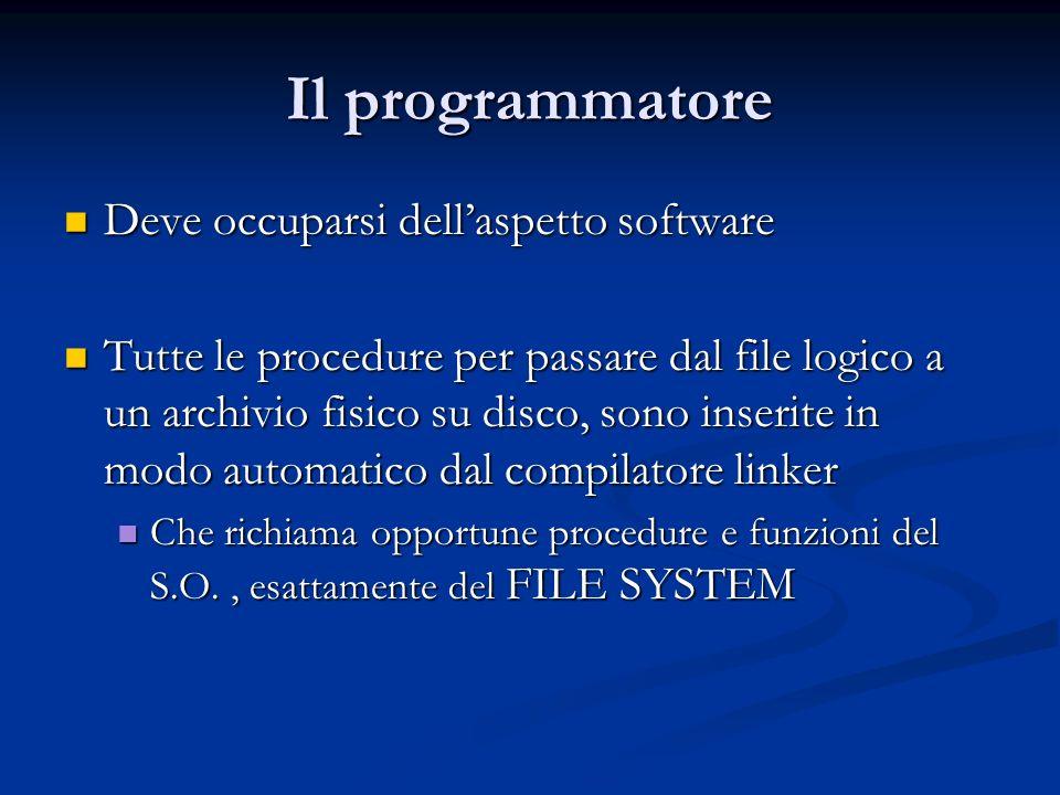 Il programmatore Deve occuparsi dellaspetto software Deve occuparsi dellaspetto software Tutte le procedure per passare dal file logico a un archivio