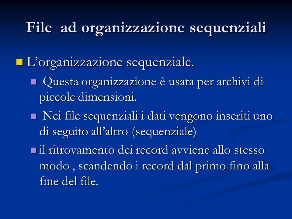 File ad organizzazione sequenziali Lorganizzazione sequenziale. Lorganizzazione sequenziale. Questa organizzazione è usata per archivi di piccole dime