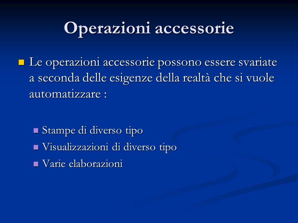 Operazioni accessorie Le operazioni accessorie possono essere svariate a seconda delle esigenze della realtà che si vuole automatizzare : Le operazion