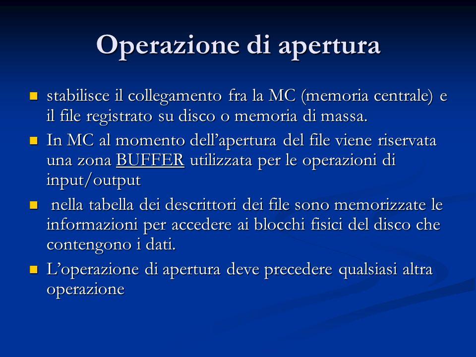 Operazione di apertura stabilisce il collegamento fra la MC (memoria centrale) e il file registrato su disco o memoria di massa. stabilisce il collega