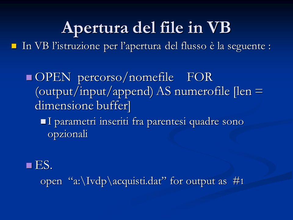 Apertura del file in VB In VB listruzione per lapertura del flusso è la seguente : In VB listruzione per lapertura del flusso è la seguente : OPEN per