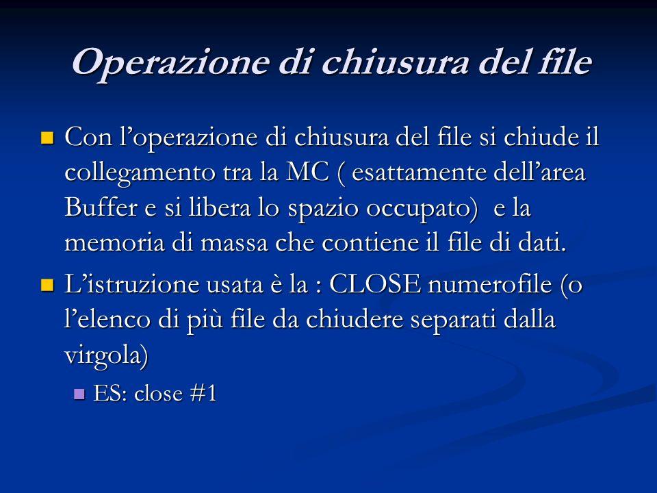 Operazione di chiusura del file Con loperazione di chiusura del file si chiude il collegamento tra la MC ( esattamente dellarea Buffer e si libera lo