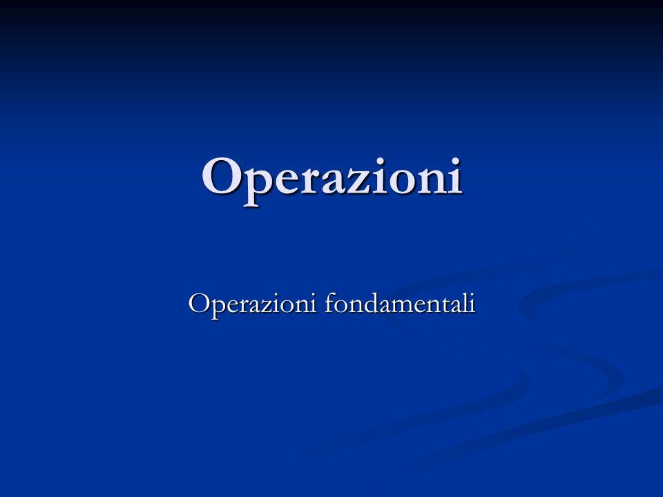 Operazioni Operazioni fondamentali