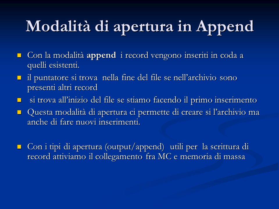 Modalità di apertura in Append Con la modalità append i record vengono inseriti in coda a quelli esistenti. Con la modalità append i record vengono in