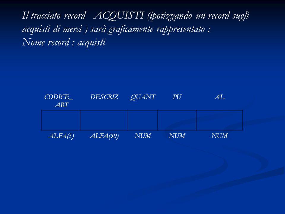 Il tracciato record ACQUISTI (ipotizzando un record sugli acquisti di merci ) sarà graficamente rappresentato : Nome record : acquisti CODICE_ ART DES