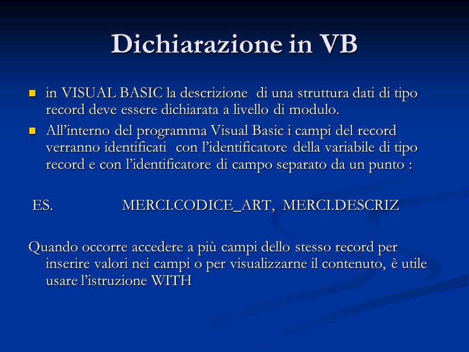 Dichiarazione in VB in VISUAL BASIC la descrizione di una struttura dati di tipo record deve essere dichiarata a livello di modulo. in VISUAL BASIC la
