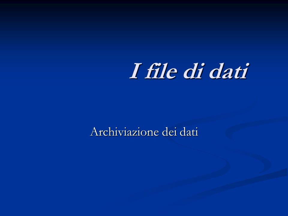 I file di dati Archiviazione dei dati