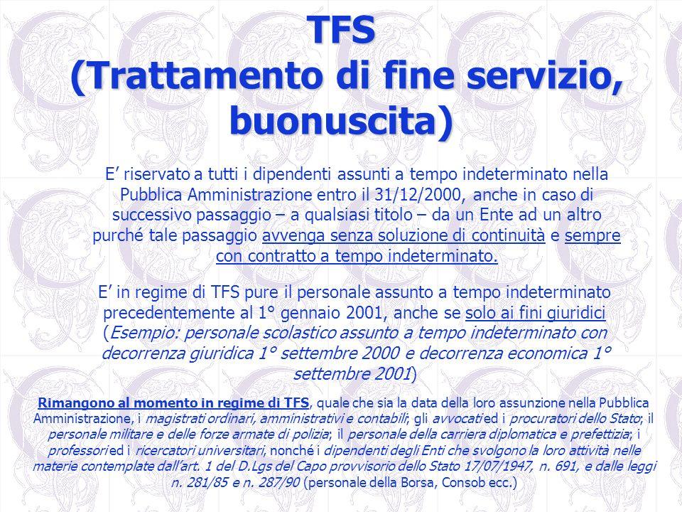 TFS (Trattamento di fine servizio, buonuscita) E riservato a tutti i dipendenti assunti a tempo indeterminato nella Pubblica Amministrazione entro il