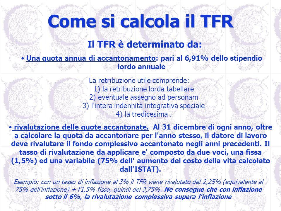 Come si calcola il TFR Una quota annua di accantonamento: pari al 6,91% dello stipendio lordo annuale La retribuzione utile comprende: 1) la retribuzi