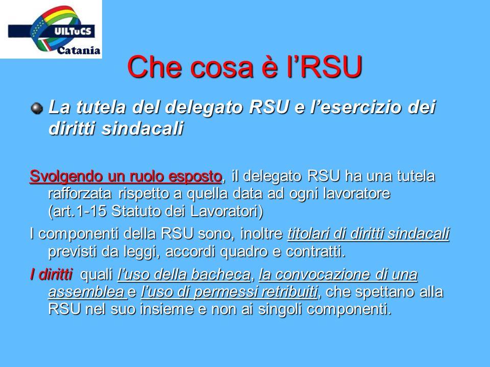 Che cosa è lRSU La tutela del delegato RSU e lesercizio dei diritti sindacali Svolgendo un ruolo esposto, il delegato RSU ha una tutela rafforzata ris