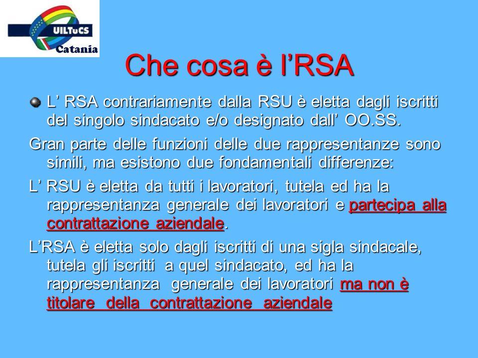 Che cosa è lRSA L RSA contrariamente dalla RSU è eletta dagli iscritti del singolo sindacato e/o designato dall OO.SS. Gran parte delle funzioni delle