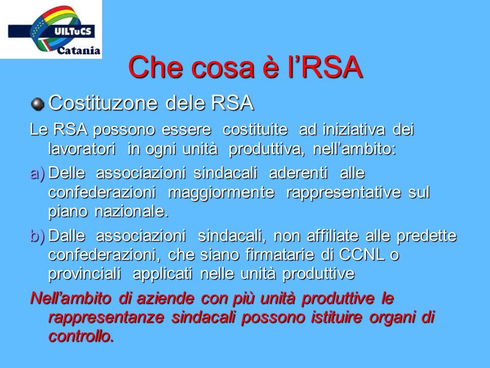 Che cosa è lRSA Costituzone dele RSA Le RSA possono essere costituite ad iniziativa dei lavoratori in ogni unità produttiva, nellambito: a)Delle assoc