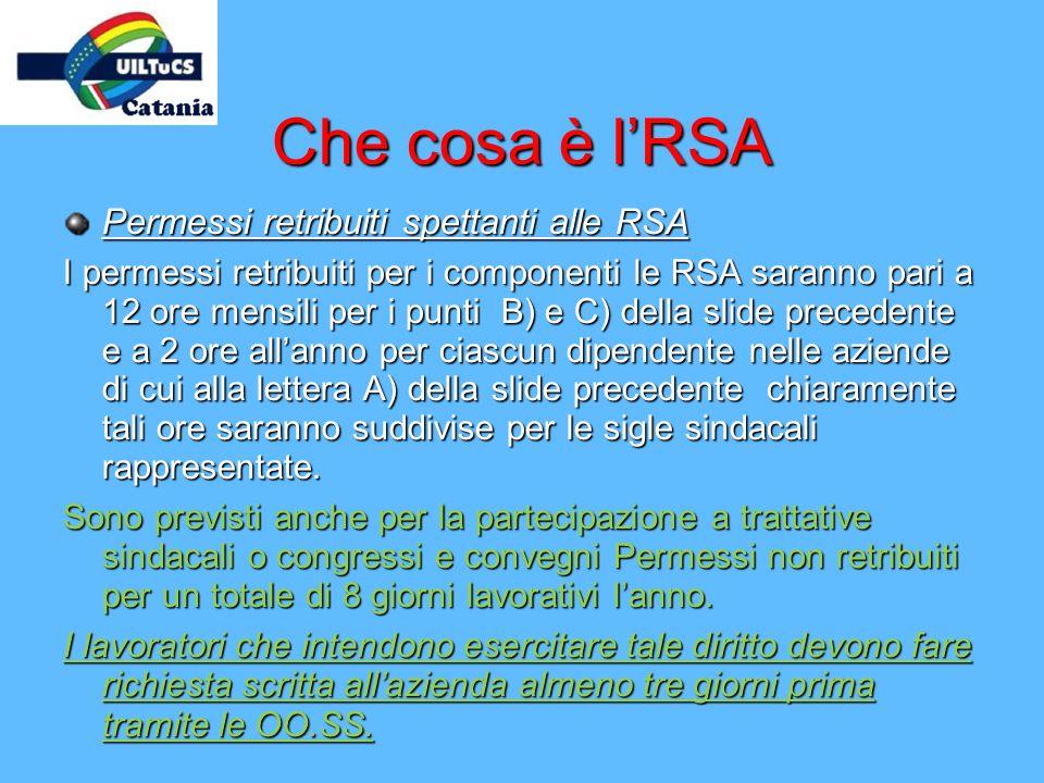 Che cosa è lRSA Permessi retribuiti spettanti alle RSA I permessi retribuiti per i componenti le RSA saranno pari a 12 ore mensili per i punti B) e C)