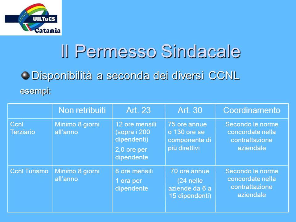 Il Permesso Sindacale Disponibilità a seconda dei diversi CCNL esempi: 70 ore annue (24 nelle aziende da 6 a 15 dipendenti) 75 ore annue o 130 ore se