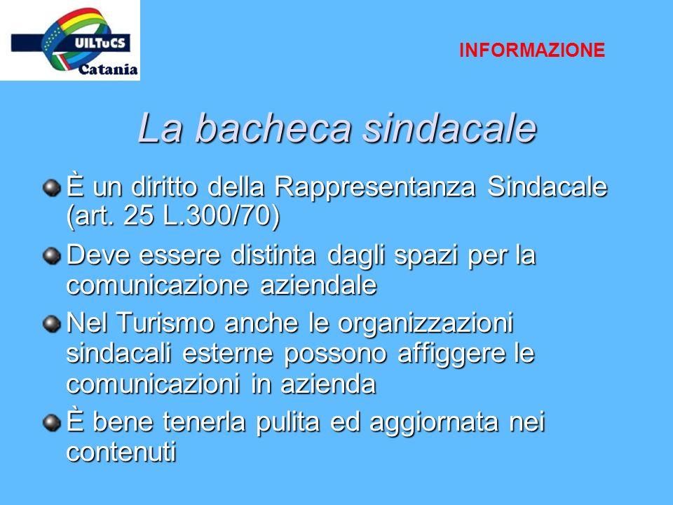 La bacheca sindacale È un diritto della Rappresentanza Sindacale (art. 25 L.300/70) Deve essere distinta dagli spazi per la comunicazione aziendale Ne