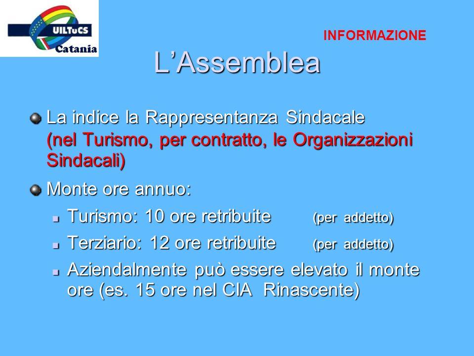 LAssemblea La indice la Rappresentanza Sindacale (nel Turismo, per contratto, le Organizzazioni Sindacali) Monte ore annuo: Turismo: 10 ore retribuite