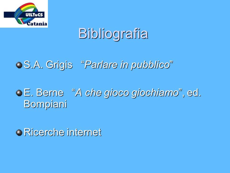 Bibliografia S.A. Grigis Parlare in pubblico E. Berne A che gioco giochiamo, ed. Bompiani Ricerche internet