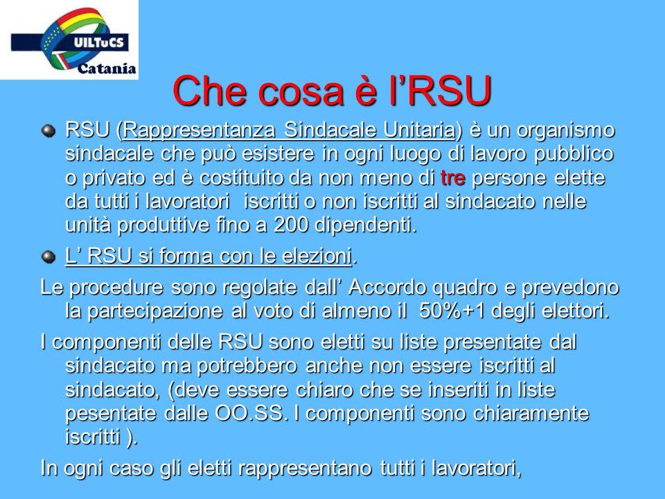 Che cosa è lRSU RSU (Rappresentanza Sindacale Unitaria) è un organismo sindacale che può esistere in ogni luogo di lavoro pubblico o privato ed è cost