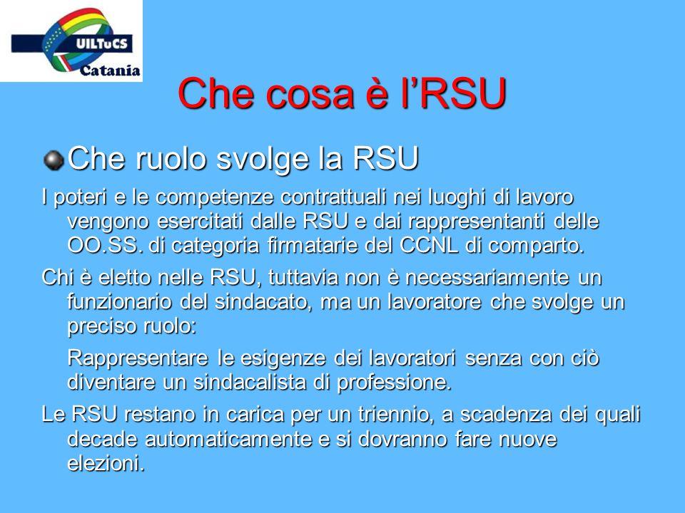Che cosa è lRSU Che ruolo svolge la RSU I poteri e le competenze contrattuali nei luoghi di lavoro vengono esercitati dalle RSU e dai rappresentanti d