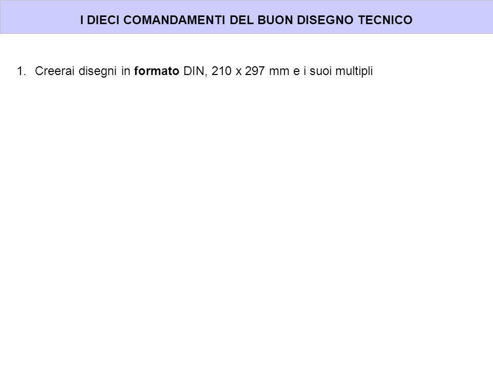 I DIECI COMANDAMENTI DEL BUON DISEGNO TECNICO 1.Creerai disegni in formato DIN, 210 x 297 mm e i suoi multipli