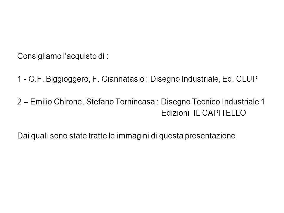 Consigliamo lacquisto di : 1 - G.F. Biggioggero, F. Giannatasio : Disegno Industriale, Ed. CLUP 2 – Emilio Chirone, Stefano Tornincasa : Disegno Tecni