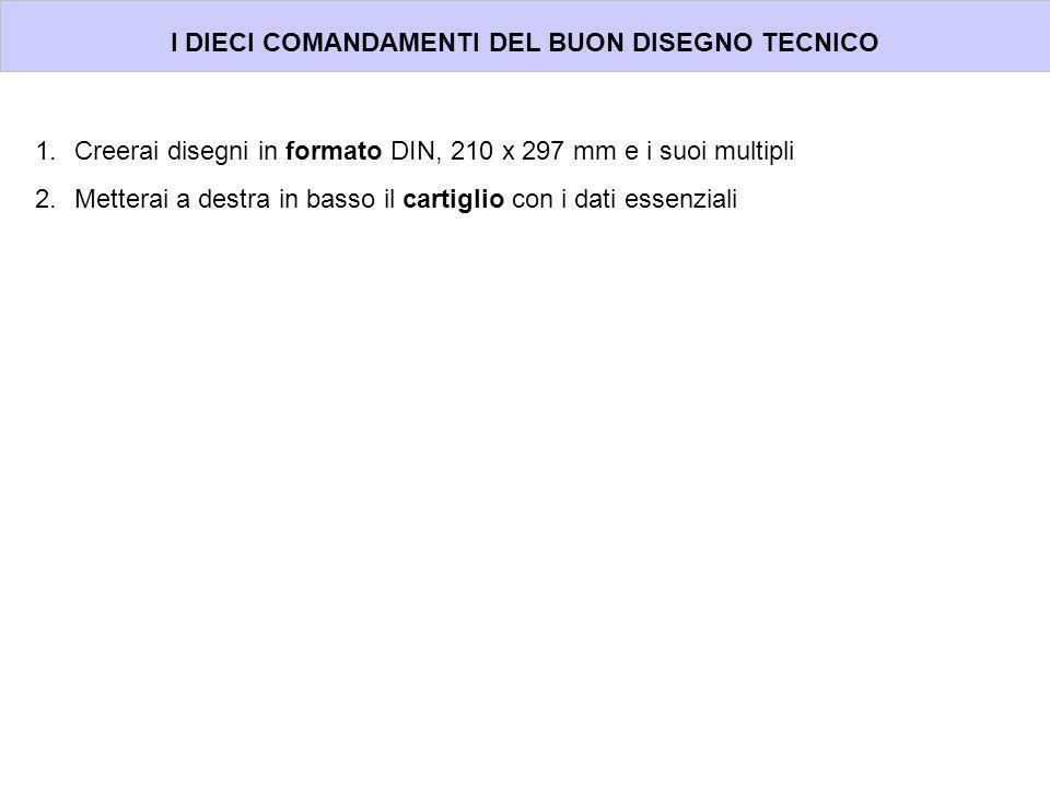 I DIECI COMANDAMENTI DEL BUON DISEGNO TECNICO 1.Creerai disegni in formato DIN, 210 x 297 mm e i suoi multipli 2.Metterai a destra in basso il cartigl