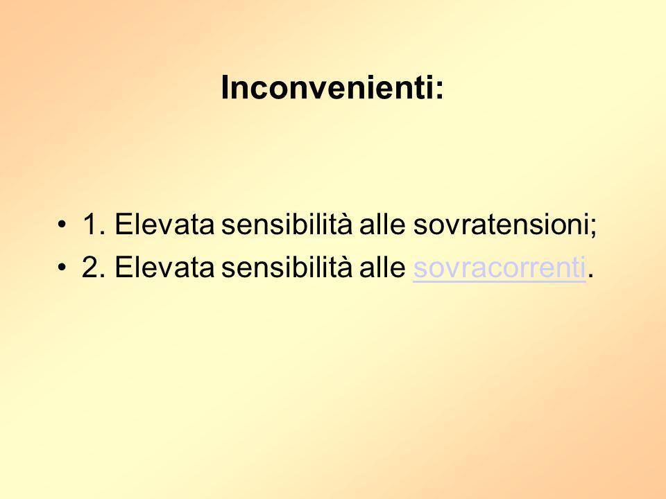 Inconvenienti: 1. Elevata sensibilità alle sovratensioni; 2. Elevata sensibilità alle sovracorrenti.sovracorrenti