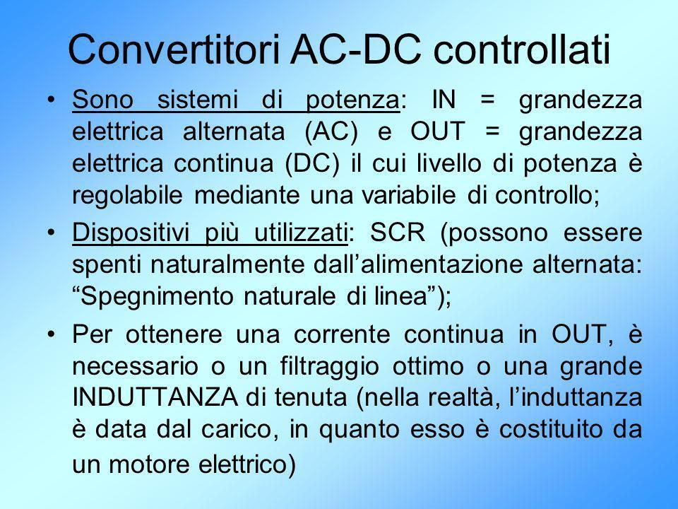 Convertitori AC-DC controllati Sono sistemi di potenza: IN = grandezza elettrica alternata (AC) e OUT = grandezza elettrica continua (DC) il cui livel