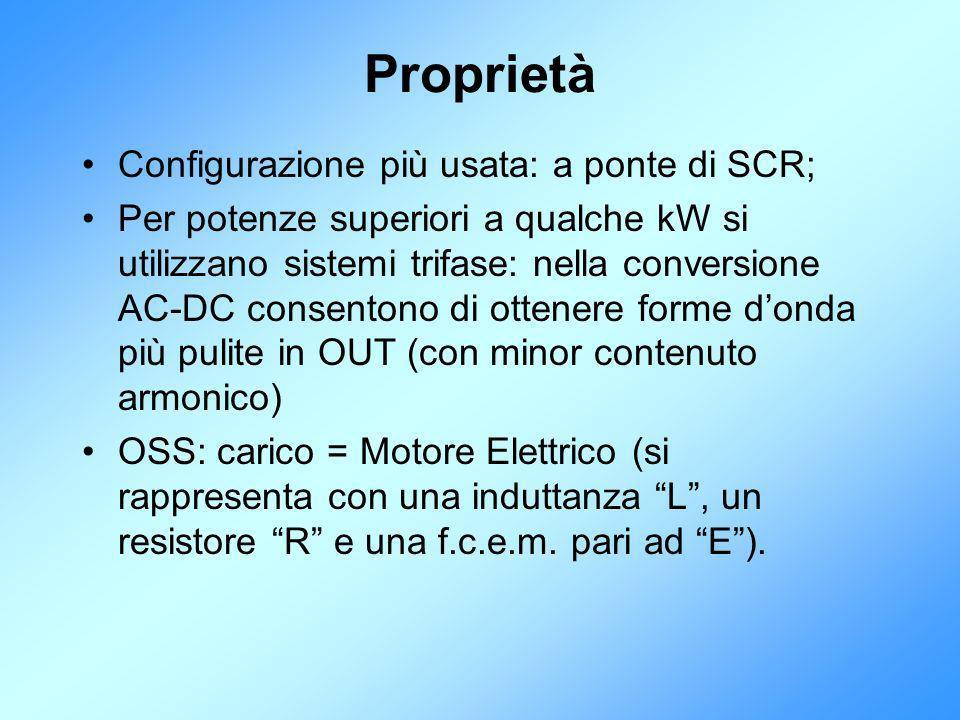 Proprietà Configurazione più usata: a ponte di SCR; Per potenze superiori a qualche kW si utilizzano sistemi trifase: nella conversione AC-DC consento