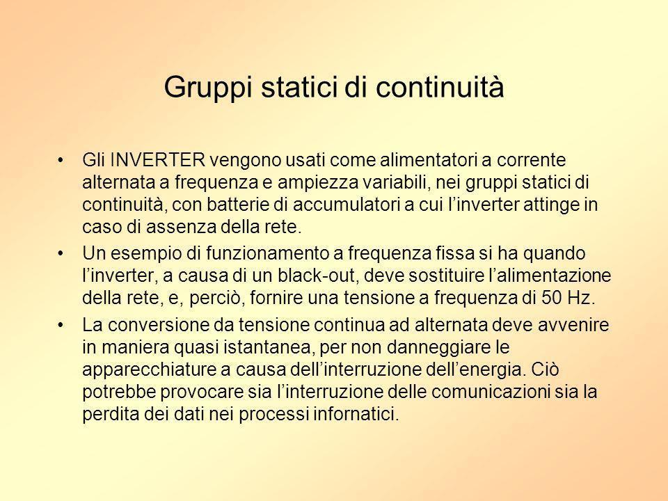 Gruppi statici di continuità Gli INVERTER vengono usati come alimentatori a corrente alternata a frequenza e ampiezza variabili, nei gruppi statici di