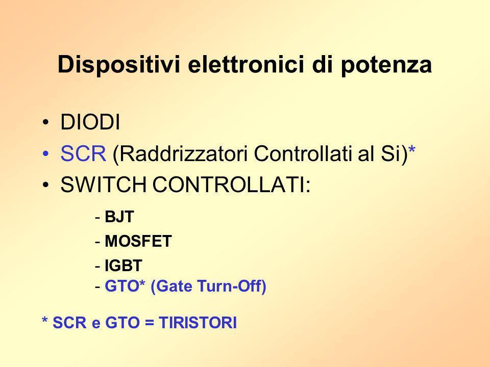 Dispositivi elettronici di potenza DIODI SCR (Raddrizzatori Controllati al Si)* SWITCH CONTROLLATI: - BJT - MOSFET - IGBT - GTO* (Gate Turn-Off) * SCR