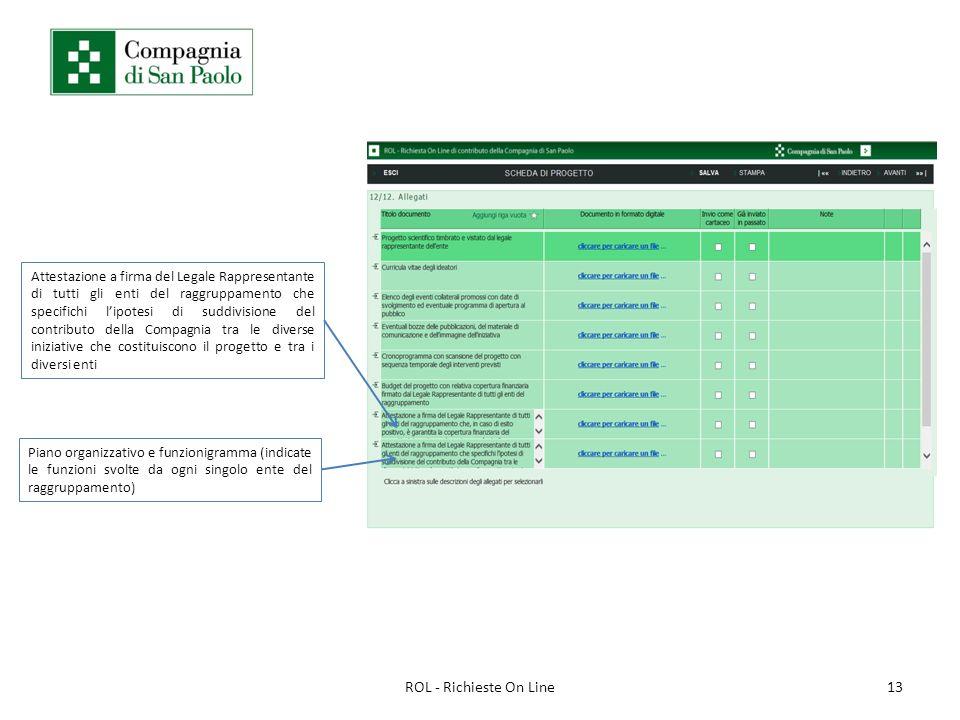 13ROL - Richieste On Line Piano organizzativo e funzionigramma (indicate le funzioni svolte da ogni singolo ente del raggruppamento) Attestazione a fi