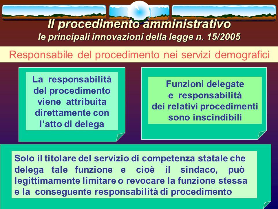 romano minardi23 Il procedimento amministrativo le principali innovazioni della legge n. 15/2005 Responsabile del procedimento nei servizi demografici