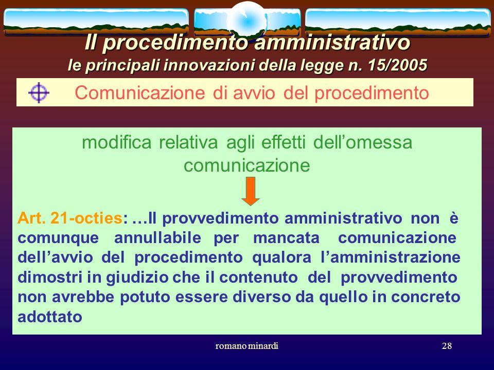 romano minardi28 Il procedimento amministrativo le principali innovazioni della legge n. 15/2005 Comunicazione di avvio del procedimento modifica rela