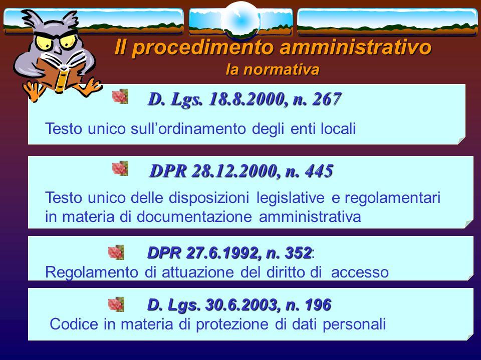 romano minardi5 Il procedimento amministrativo la normativa D. Lgs. 18.8.2000, n. 267 D. Lgs. 18.8.2000, n. 267 Testo unico sullordinamento degli enti